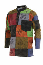 Grandad Shirt Patchwork 100% Cotton Kurta Hippy Boho Festival Hippie Jacket