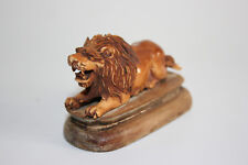 Antique Chinese Boving os sculpté Lion Figure statue sur bois sculpté stand