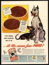 1944 PARD Dog Food - Cute WEINER DOG & GREAT DANE Dogs - Retro VINTAGE  AD
