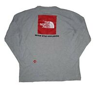 The North Face L mens long sleeve gray t-shirt red logo