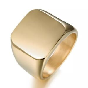 Mens Stainless Steel Ring Square Signet Polished Biker Silver Black Blue Gold.