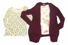 LOT of 3 Mudd Juniors Size Medium Scoop Neck Tops Long Sleeve Cardigan FREE SHIP