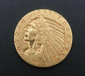 1914D $5 Dollar Indian Head Half Eagle Gold Coin Free Shipping Rare M1538