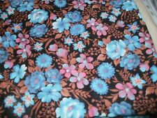 "Floral 100% Cotton Poplin Fabric Fat Quarter 20.25""x18"" Blue,Pink,Brown on Black"