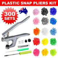 300PCS + Plier Tool for KAM Snap Button Kit T5 Plastic Snaps Fastener Press Stud