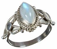 925 Solid Sterling Silver Ring Natural Rainbow Moonstone All US Size JR27