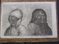 Man & Woman de Kamtschatka, Rusia. Original Grabado, 1785. Cook's viajes.