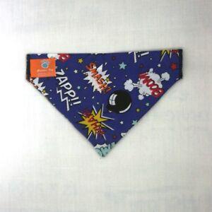 Smash/Pow Navy Dog Bandana - slips onto your dogs collar - 2 sizes available