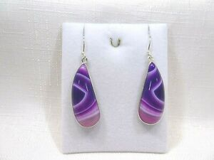 Natural Multicolour Botswana Agate Solid Sterling Silver Hook Earrings