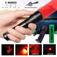 Red/Green Light LED Flashlight 5Modes Torch Lamp Astronomy Night Vision Zoom