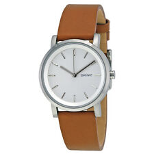 DKNY Soho White Pearlized Dial Light Brown Leather Strap 34mm Ladies Watch-AU