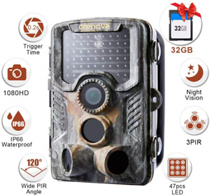 Crenova  20MP 1080P HD Wildlife Hunting Trail Camera Include 32GB SD Card 47 pcs