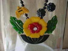 Assembled Stacey Porter Original Vintage  Bakelite Flower Butterfly Necklace Pin