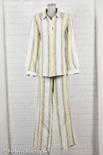 Tommy Bahama womans pant suit sz 12 green white stripes button front linen tall