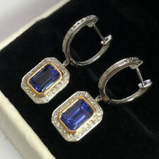 Natural Blue Tanzanite Diamond Leveback Dangle Earrings Solid 14K Gold Jewelry