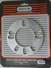 GRAYSTON Pacco da 2 UNIVERSAL WHEEL Distanziatori SHIMS 3mm 4 +5 Stud PCD 95-120mm COPPIA