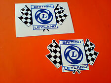 BRITISH LEYLAND Chequered Flag Race Rally Classic Car Stickers 2 off 75mm