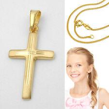 Echt Gold 333 Kinder Damen Kreuz Anhänger mit Silber verg. Vario Kette 42-40 cm