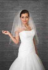 """Nuevo 2 T blanco marfil de boda nupcial Velo Con Cuentas longitud 32"""" con peine de la yema del dedo"""