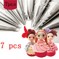 Flower Icing 7pcs Stainless Steel Piping Nozzles Tips Pastry Cake Baking Tool
