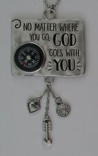 a No matter where u go God goes with u LET LOVE BE YOUR GUIDE Compass Car Charm