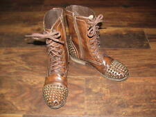 Steve Madden Size 7 Combat Boots Brown Leather Gold Spike Studded CUTE