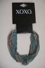XOXO New Bracelet Multi-Strands of Metal Chains Teal Highlights NWT