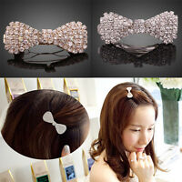 Girls Women Crystal Rhinestone Hair Clip Lovely Bowknot Barrette Clamp Hairpin
