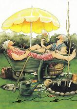 Kunstkarte: Inge Löök - Frauen ruhen sich unter dem Sonnenschirm aus / Nr. 20