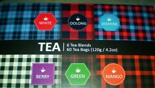 Touch Organic Tea 6 Blends 60 Tea Bags White Oolong Jasmine Berry Green Mango