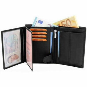 Mens Soft 100% Leather Wallet, ID Window, Zip And Coin Pocket BLACK X 15 JOB LOT