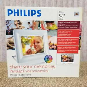 """Philips 6FF3FPW 5.6"""" LCD White Digital Picture Frame with Photo Alarm Clock"""