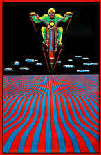 1970s Psychedelic Motorcycle Rider black light poster replica magnet - new!