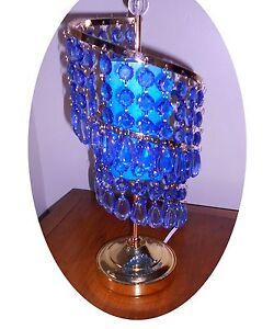 Blue Elegance Spiral Crystal Cascade Aroma Table Lamp