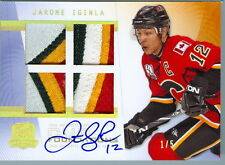 2009-10 UD THE CUP FOUNDATIONS JAROME IGINLA GAME USED QUAD PATCHES AUTO  1/5