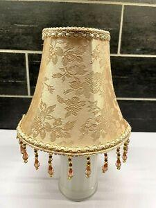 Mini Lamp Shade Beaded Khaki Tan Floral Lampshade With Amber Tone Hanging Beads