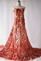 Sale Sequin Red Evening Dress Lace Fabric Floral Embroidery Costume Tulle 1 Y