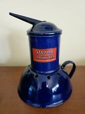 Antique WWI Blue Enamel STERNO Canned Heat VAPORIZER Medical Equip Orig Label