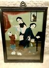 Vintage CHINESE REVERSE PAINTING ON GLASS Women w/ Children & Rabbits