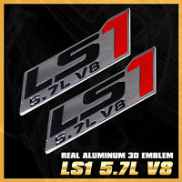 Pair LS1 5.7L V8 METAL EMBLEM BADGE STICKER DECAL HOOD FENDER BUMPER NAMEPLATED