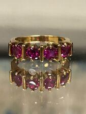 Designer Signed IBB Sterling Silver Gold Channel Set Bar Pink Round Spinel Ring
