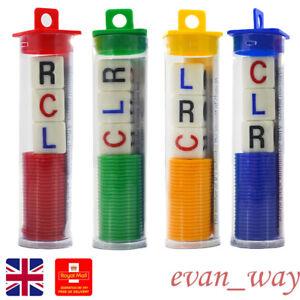 Set of 4 Left Center Right Game Dice Multicolor Entertainment Game Plastic
