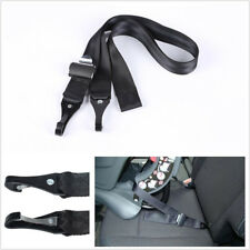 Polyester+Steel Car Seat Strap Double-Hook Latch/Isofix Seatbelt Connector Black