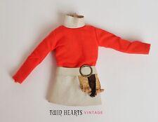 Vintage 70s Lady Licca Doll Red & White Mini Dress Japanese Takara