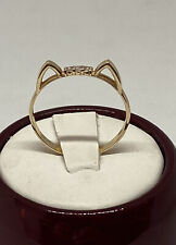 14k Solid Yellow Gold Cat Ears Ring