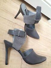 New Senso Grey Leather Strap Point Heels Stilettos 38 5