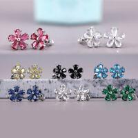 7 Colors Flower Stud Earrings Women 925 Silver Jewelry Cubic Zircon A Pair/set