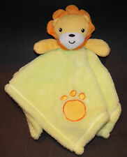 "Baby Gear Lion Lovey Green Yellow Security Blanket Plush Paw Print 15""x15"""