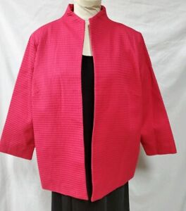 Dialogue Pink Open Front Blazer Size 1X Textured Lined Pockets