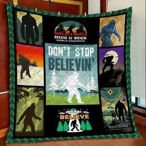 Bigfoot Don't Stop Believin Quilt/Mint/Sherpad/Fleece Blankets